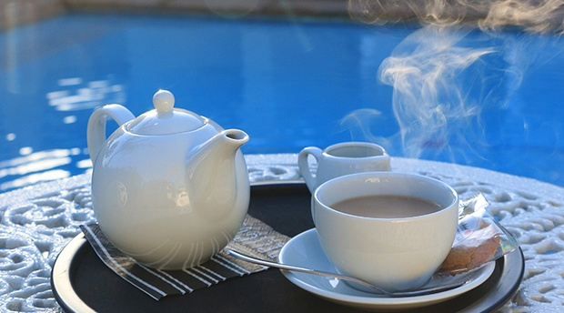 Tea by the swimming pool at Paradiso Guest House in Constantia, Cape Town